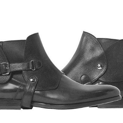 Handmade Men black leather boot, Me..