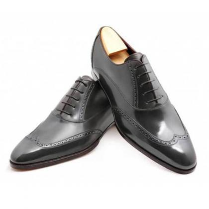 Handmade Men Wingtip brogue formal ..