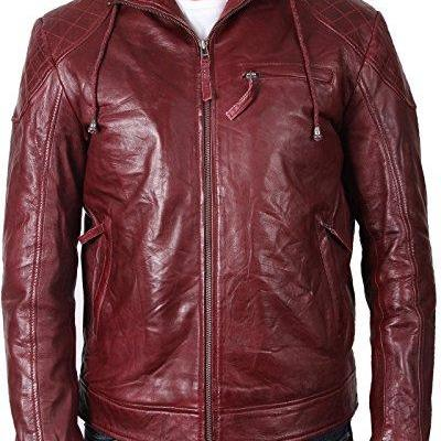 Men Maroon Hooded Leather Jacket, M..
