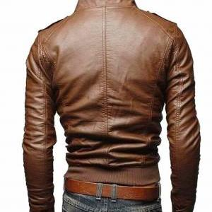 Handmade MEN BROWN SLIM FIT LEATHER..