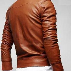 Handmade men slim fit leather jacke..