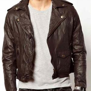 Men brown leather jacket, real leat..