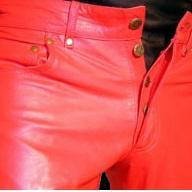 Handmade men leather jeans red leat..