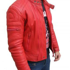 MENS BOMBER LEATHER JACKET RED COLOR JACKET MEN LEATHER JACKET