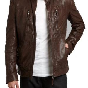 MENS BROWN BIKER LEATHER JACKET, ME..