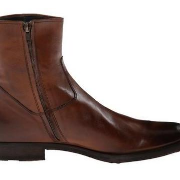 MEN SIDE ZIPPER LEATHER BOOT,MEN ANKLE-HIGH LEATHER BOOT, BROWN ...