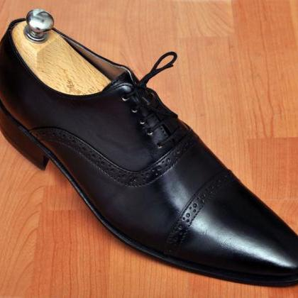 HANDMADE MEN'S OXFORD BLACK LACEUP ..