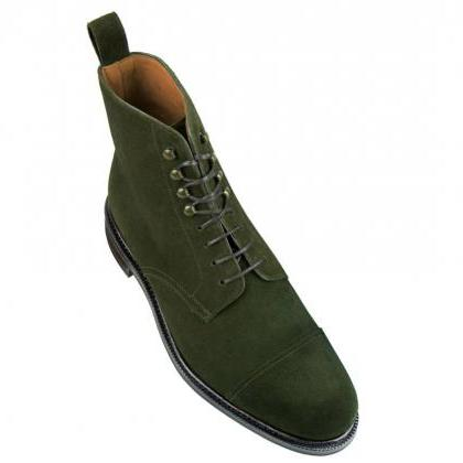 Handmade mens hunter green ankle bo..