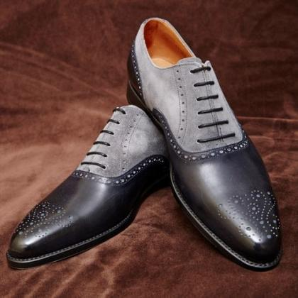 Handmade men dress leather brogue t..