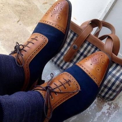 Handmade Men two tone brogue shoes,..