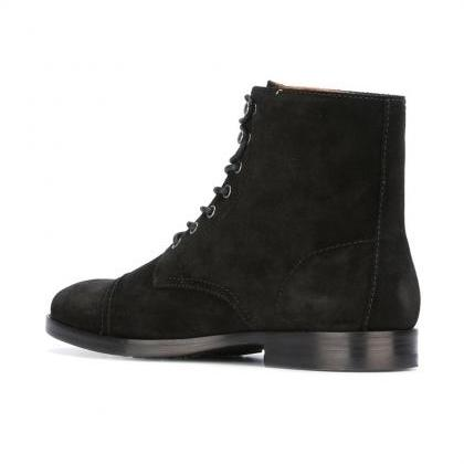 Handcrafted Mens Fashion Black Suede Lace Up Boots, Men Suede ...