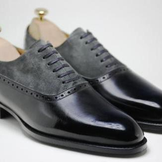 Handmade Men Two Tone Shoes, Men Gray And Black Dress Shoes, Mens ...