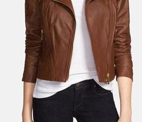 Women brown leather jacket, women real leather jacket