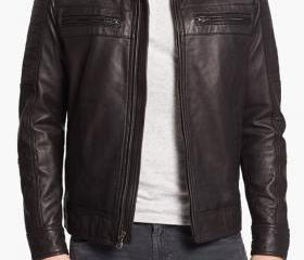 MEN'S BOMBER LEATHER JACKET, MAN LEATHER JACKET BLACK