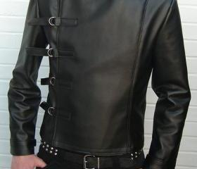 MENS LEATHER JACKET, MEN BELTED FASTEN FRONT JACKET