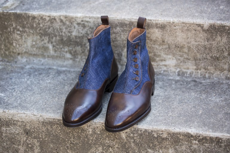 Men Two tone ankle boots, Men brown and Blue denim ankle button boots