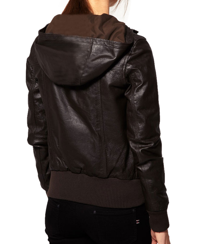 Images of Womens Leather Hooded Jacket - Reikian