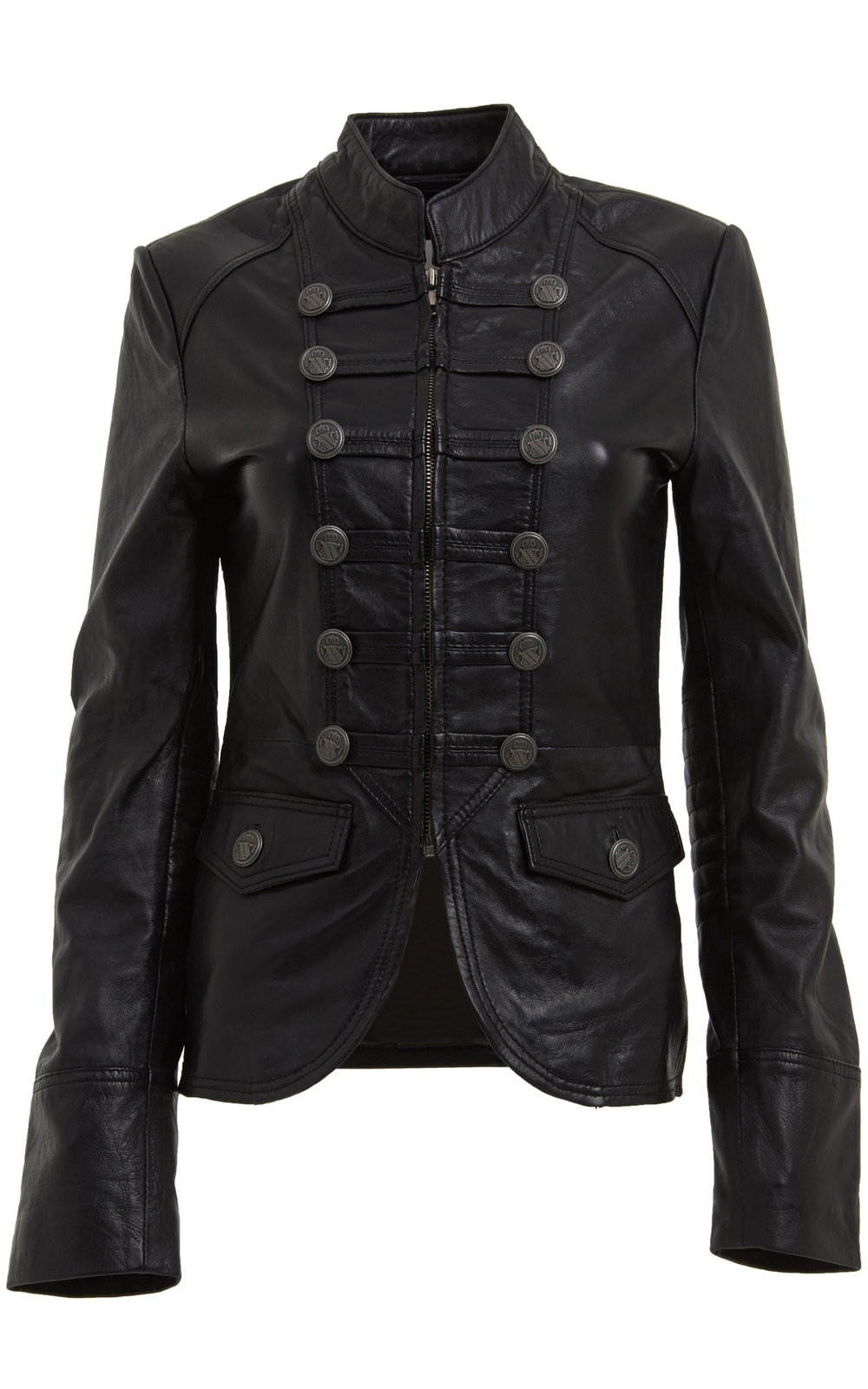 WOMENS BLACK MILITARY STYLE LEATHER BLAZER JACKET on Luulla