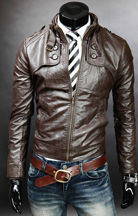 MEN DOUBLE BUTTON SLIM FIT LEATHER JACKETMEN JACKETS BIKER