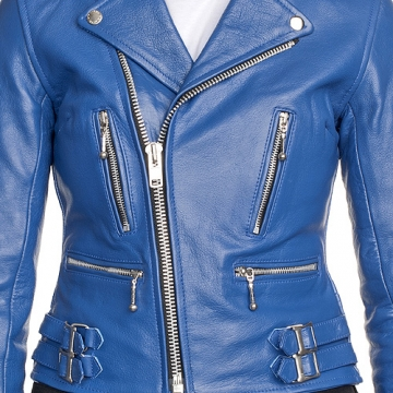WOMEN'S LEATHER JACKET, BLUE COLOR JACKET WOMEN, BELTED LEATHER ...