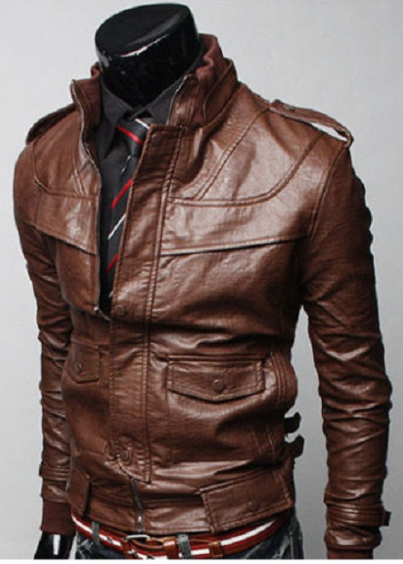 MEN BROWN COLOR LEATHER JACKET WITH RIB COLLAR MENS SLIM FIT JACKET On Luulla