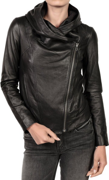 WOMEN'S HOODED LEATHER JACKET, WOMENS LEATHER JACKETS, WOMEN ...