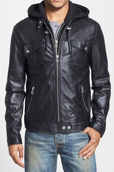 MENS HOODED LEATHER JACKET MEN BLACK BIKER LEATHER JACKET MEN