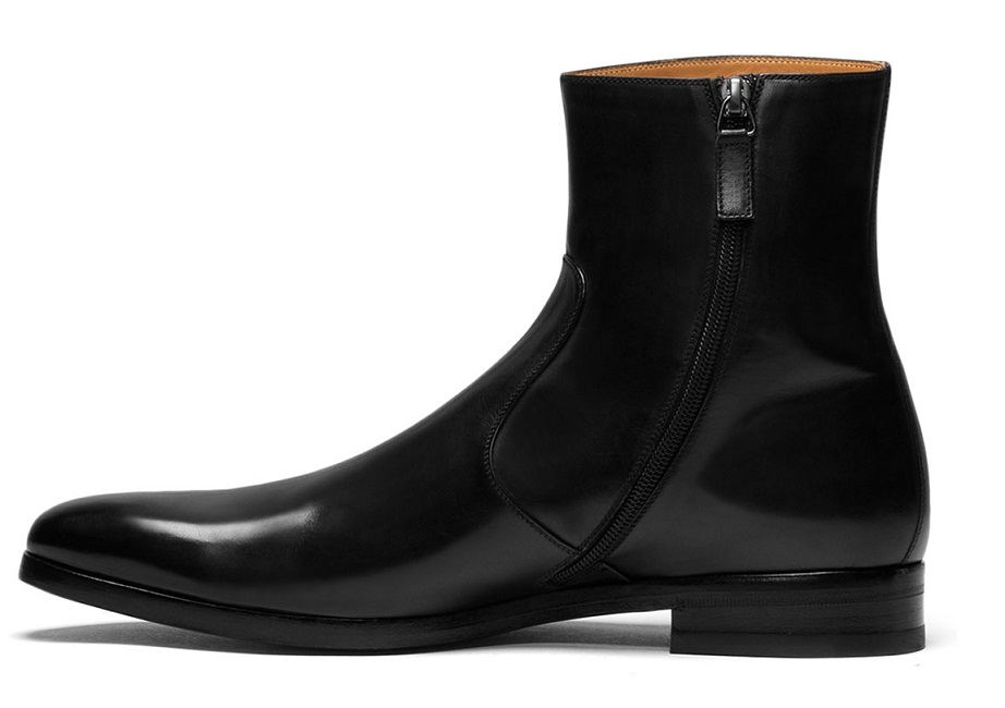 HANDMADE MEN LEATHER SIDE ZIPPER BOOTS, MENS GENUINE LEATHER DRESS ...