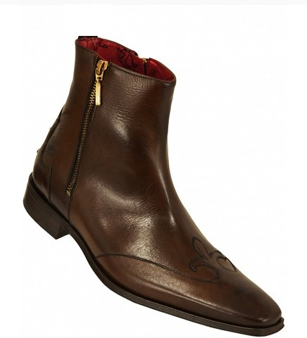 MEN HANDMADE BROWN GENUINE LEATHER BOOTS, MEN ANKLE-HIGH BROWN ...