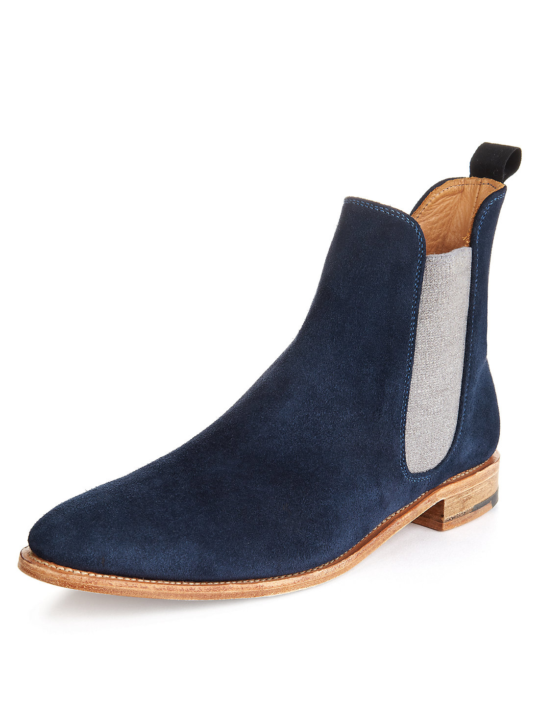Handmade Mens Chelsea Boots Men Fashion Blue Ankle-high Suede