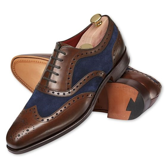 Handmade Men Two Tone Wing Tip Brogue Formal Shoes Men Dress ...