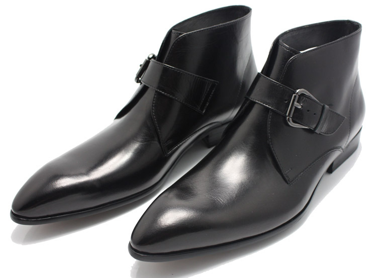 Handmade Men Black Pointed Toe Genuine Leather Boots, Mens Fashion ...