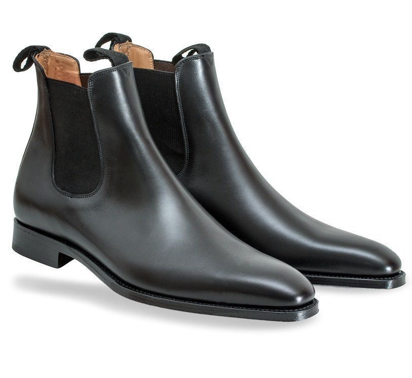 Handmade Men's fashion Black Chelsea leather boot, Men ankle black leather boots