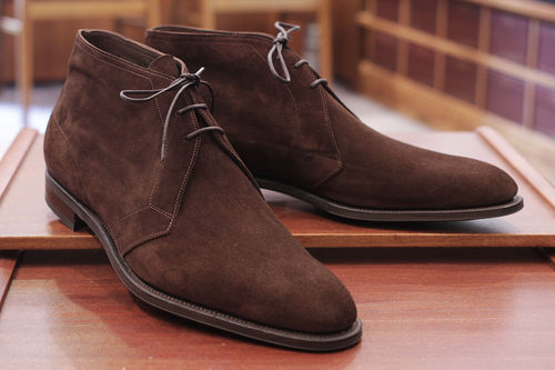 Handmade Mens dark brown suede chukka boots, Men brown laceup suede leather boot