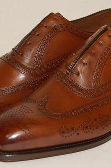 Handmade Men Brown Wingtip Shoes, Men Brogue Formal Shoes, Men Dress Shoes
