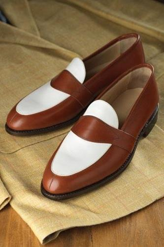 Handmade Men brown and white leather shoes, Men slip ons, Men formal shoes
