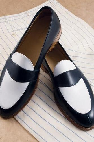 Handmade Men black and white leather shoes, Men slip ons, Men formal shoes