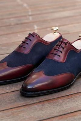 Handmade men two tone formal shoes, Men blue and brown dress shoes, Men shoes