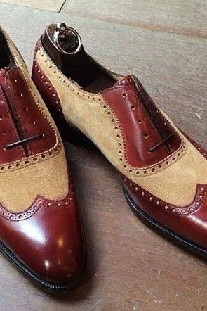Handmade Men two tone leather formal shoes, Men beige and brown dress shoes