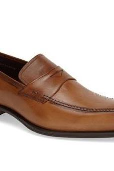 Handmade Men brown formal shoes, Men brown moccasins shoes, Men leather shoes