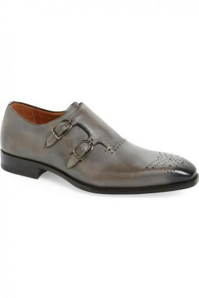 Handmade Men gray formal shoes, Men gray double monk shoes, Men leather shoes