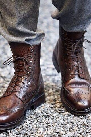Handmade Men wingtip brogue lace up boot, Men military boot, Men combat boot