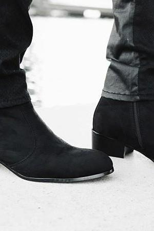 Handmade Men Black Side Zipper Boot, Men Black Suede Leather Boots