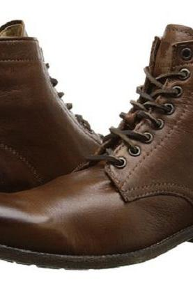 Handmade Men Lace Up Vintage Brown Ankle Boot, Men Antique Brown Biker Boot