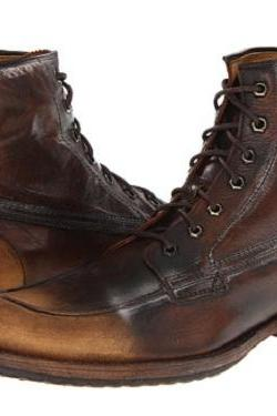 Handmade Men Brown Distressed Lace Up Military Boots, Men Brown Combat Boot