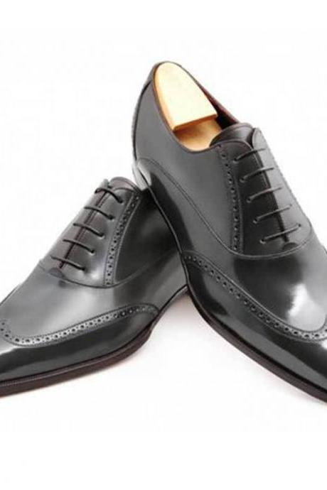 Handmade Men Wingtip brogue formal shoes Men black leather dress shoes Men shoes