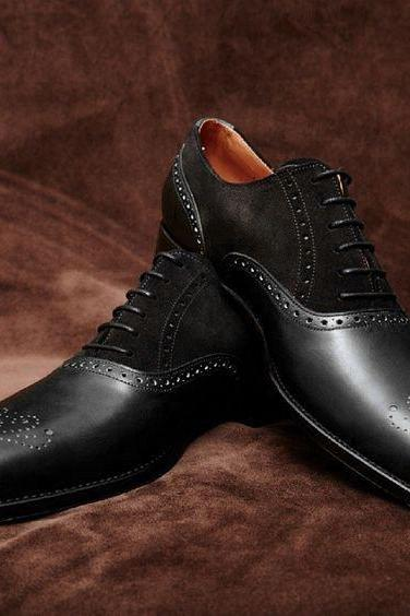 Handmade Men black formal shoes, Men Spectator formal shoes for men, Mens shoes