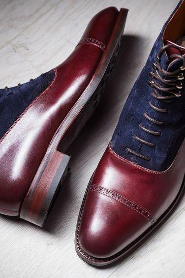 MEN TWO TONE LACE UP BOOTS FOR MEN, MEN MAROON AND BLUE ankle boots