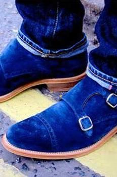 Handmade Mens Fashion Double Monk Party Shoes, Mens Style Royal Blue Shoes