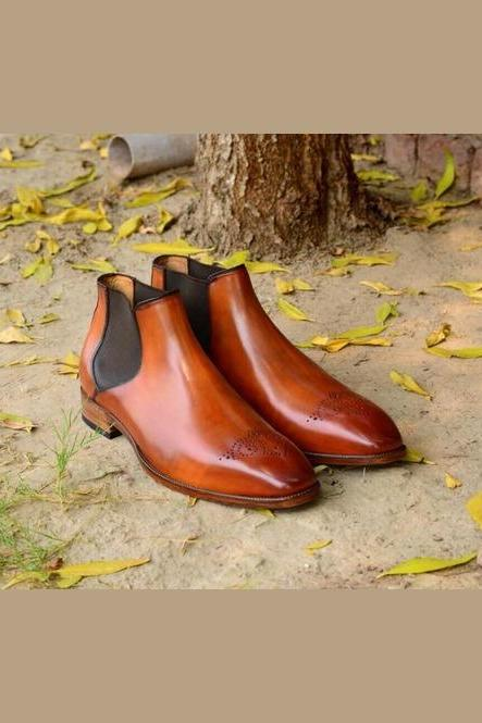 Handmade Men Tan Color Chelsea Leather Boots, Men Brogue Chelsea Boots, Men boots